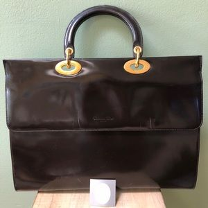 Christian Dior chocolate brown leather briefcase